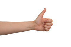 Young Lady's Left Hand's Good Job Sign. Against white back ground stock photography
