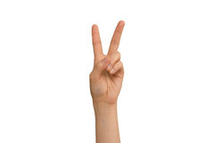 Young Lady's Left Hand V Sign Stock Photography