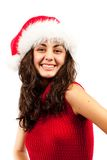 Young lady with Santa Claus hat. Close up of a young woman with Santa Claus hat isolated on white background Stock Images