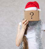 Young lady in Santa Claus hat Stock Photo
