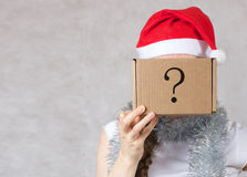 Young lady in Santa Claus hat. Young lady in a Santas hat. Free space for a text Stock Images
