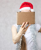 Young lady in Santas hat. Young lady in a Santas hat. Free space for a text Stock Photography