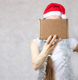 Young lady in Santas hat. Young lady in a Santas hat. Free space for a text Stock Photos