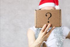 Young lady in Santas hat. Young lady in a Santas hat. Free space for a text Royalty Free Stock Photos