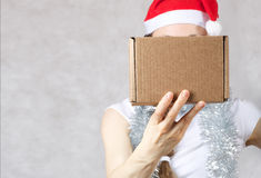 Young lady in Santas hat. Young lady in a Santas hat. Free space for a text Stock Image
