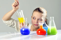 Young lady scientist Royalty Free Stock Photo