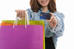 Young lady with shopping bags stock images