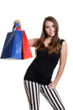 Young lady with shopping bags Stock Photos