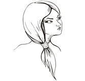 Young lady with short plait. Vinyl-ready EPS Illustration, black and white sketch Royalty Free Stock Image