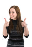 Young lady showing thumb's up sign Stock Photos