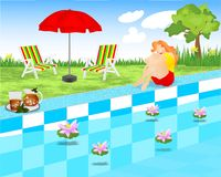 Young lady sitting near the swimming pool, cdr. Young lady sitting near the swimming pool, waterlilies on the water, chairs, umbrella, cdr format royalty free illustration