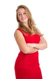 Young lady smiling with arms crossed Royalty Free Stock Photo