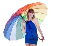 Young lady standing with color umbrella Stock Images