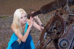 Young lady stargazing Stock Photo