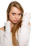 Young lady with straight blond hair Stock Photo