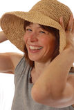 Young lady  with straw hat Royalty Free Stock Photography