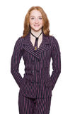 Young lady in striped retro suit isolated on white Stock Image