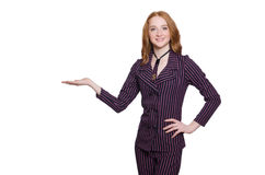 Young lady in striped retro suit isolated on white Royalty Free Stock Images