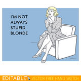 Young lady. Stupid woman. Editable vector meme card Royalty Free Stock Photography
