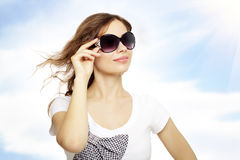 Young lady with sunglasses Royalty Free Stock Photos