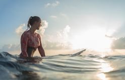 Young lady surfer waits the waves Stock Photo