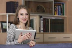 Young lady with tablet PC Royalty Free Stock Image