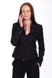 Young lady talking on mobile phone. Happy young lady talking on mobile phone royalty free stock photo