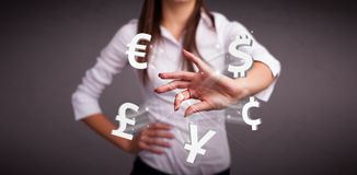 Young lady throwing currency icons Stock Images