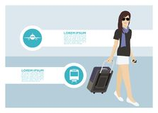 A young lady traveling simple illustration. Simple illustration of a young lady traveling Stock Photo