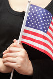 Young lady with USA flag Stock Photography