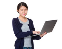 Young lady use of laptop computer Stock Photography