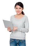 Young lady use of laptop computer Royalty Free Stock Image
