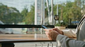 A Young Lady Using a Smartphone in the Cafe. Close-up shot. Soft focus stock footage