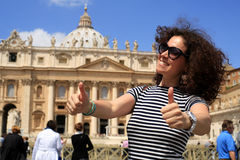 Young lady in Vatican. Young lady in striped dress at the Vatican Stock Photography
