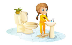 A young lady washing her hands stock illustration