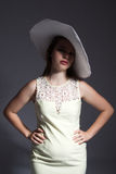Young lady in white hat Stock Photo