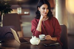 Young Lady With Luxury Accessories In Cafe Royalty Free Stock Photos