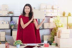 Young lady working at home office royalty free stock images