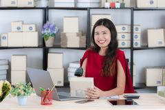 Young lady working at home office royalty free stock photos