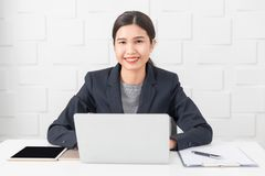 Young lady working at office royalty free stock image