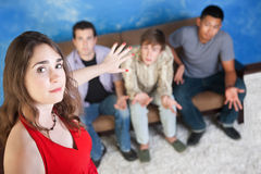Young Lady with Young Men Stock Photo