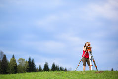 Young land surveyor Stock Images