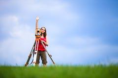 Young land surveyor. At work stock photo