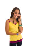 Young latin american female on cellphone Royalty Free Stock Photos