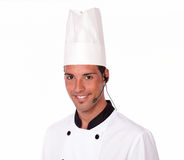Young latin chef talking on microphone Royalty Free Stock Images