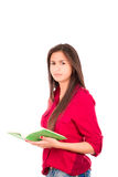 Young Latin Girl Holding Open Book Stock Photos