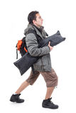 Young latin guy carrying backpack Royalty Free Stock Images