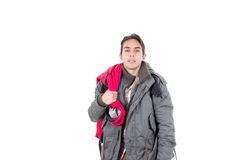 Young latin guy carrying backpack Stock Photography