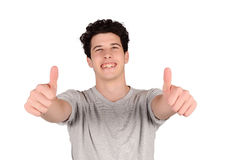 Young latin man doing ok gesture. Royalty Free Stock Photography