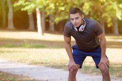 Young latin man runner running jogging copyspace copy space sports training fitness workout royalty free stock image